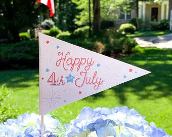 4th of July Pennant Flag | July 4th Printable | July 4th Flag Pennant | 4th of July Party Decor | 4th of July Decorations | July 4th Decor