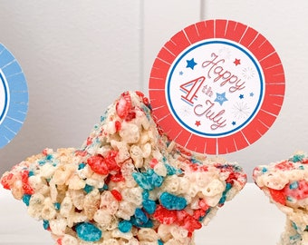 4th of July Cupcake Toppers | Stars and Stripes Forever | Let Freedom Ring Cupcake Toppers | 4th of July Party | Happy 4th of July Decor