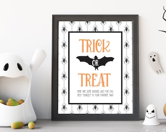 Printable Trick-or-Treat Sign | Trick-or-Treat Sign | Printable Halloween Sign | Printable Halloween Decor | Spider Halloween Decor