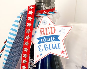 Red Wine and Blue Tags | Red White and Booze Tags | July 4th Tags | Patriotic Star Tags | 4th of July Printables | Patriotic Printables