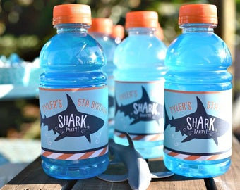 Shark Bottle Labels - Shark Party - Shark Birthday