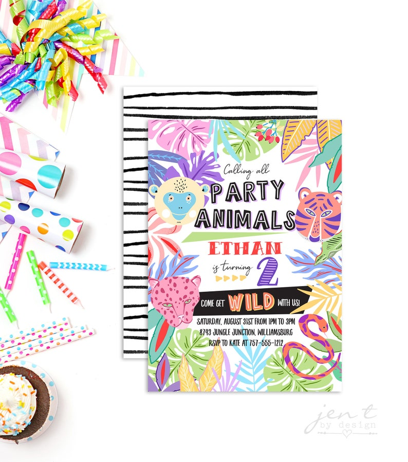 Jungle Party Animal Invitation  Party Animal Invitation  image 0