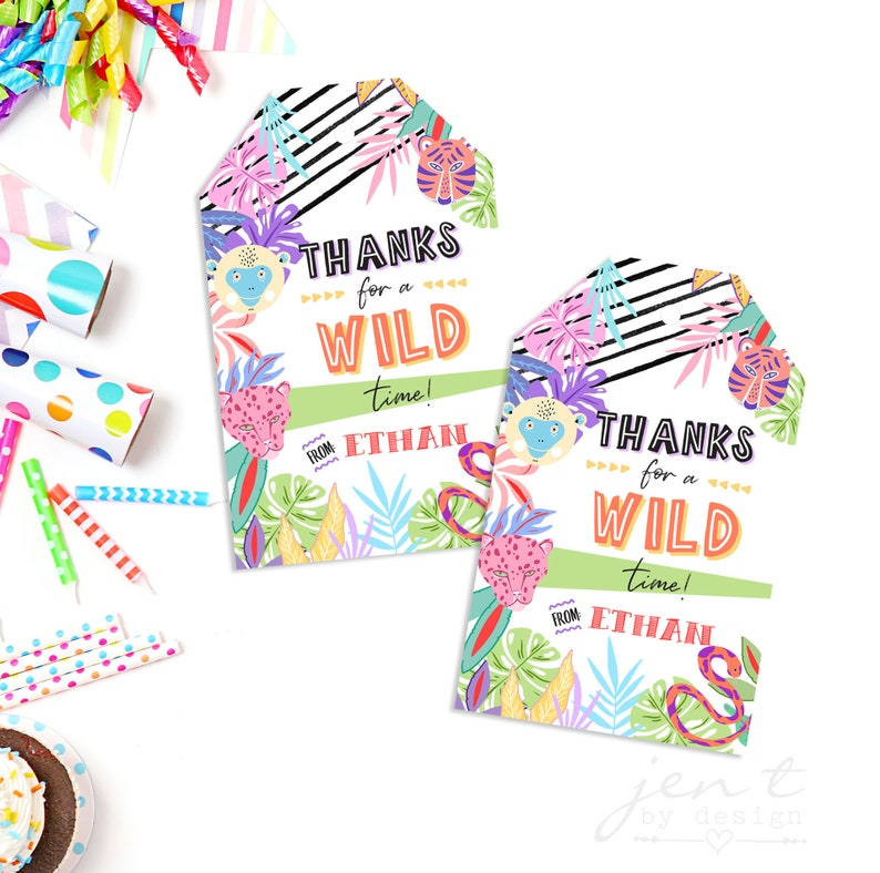 Party Animal Favor Tags  Jungle Party Animals  Jungle Animal image 0