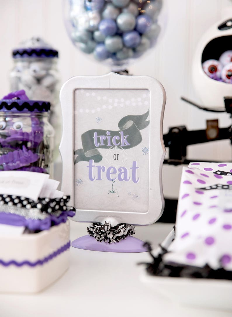 Trick or Treat Sign  Halloween Sign  Halloween Party Decor  image 0