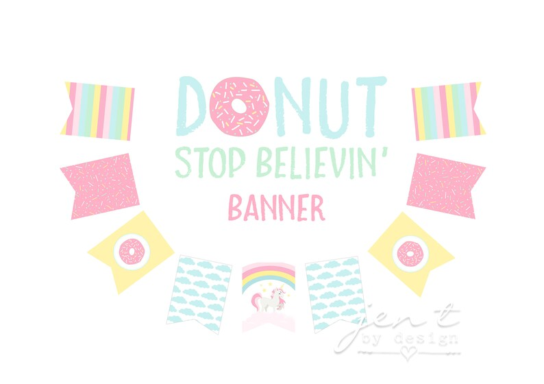 Unicorn Party Banner  Donut Party Banner  Rainbow Party image 0