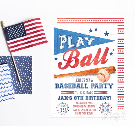 baseball invitation baseball birthday baseball party baseball