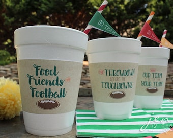 Football Tailgate Cup Sleeves Instant Download