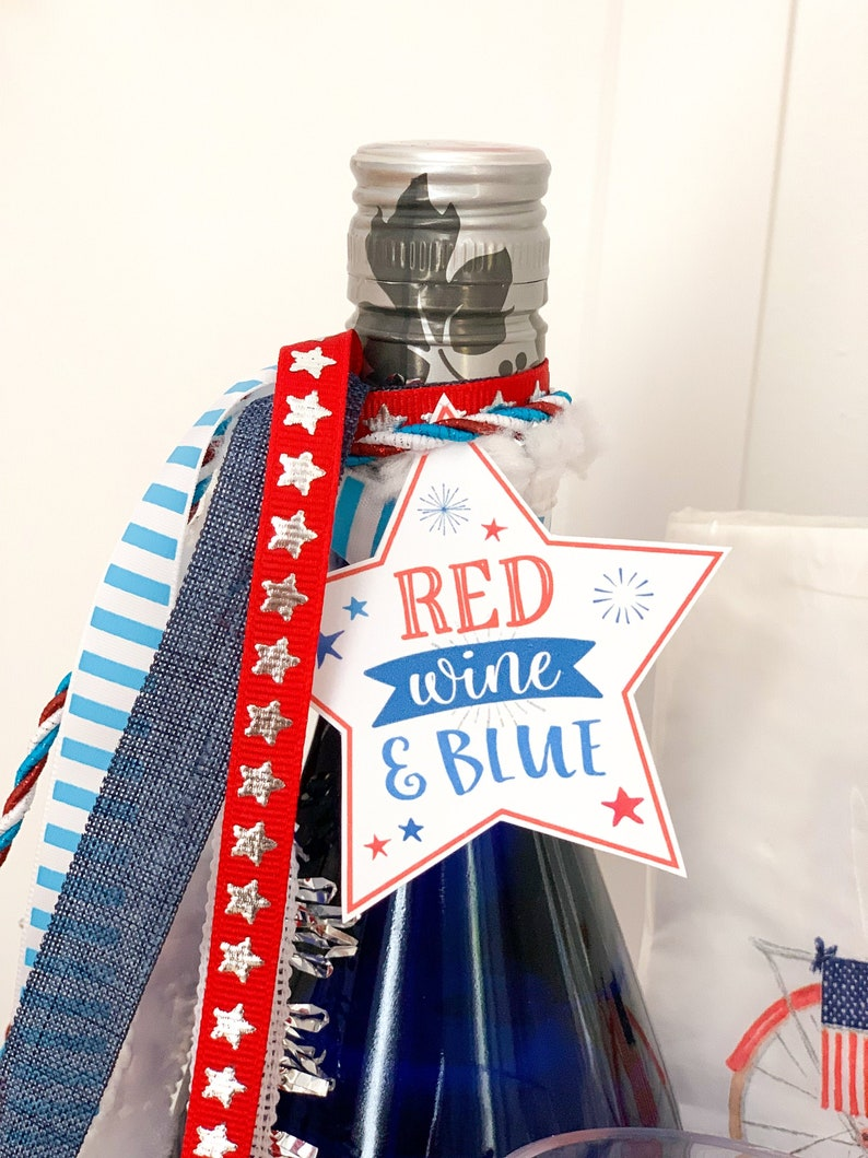 Red Wine and Blue Tags  Red White and Booze Tags  July 4th image 0