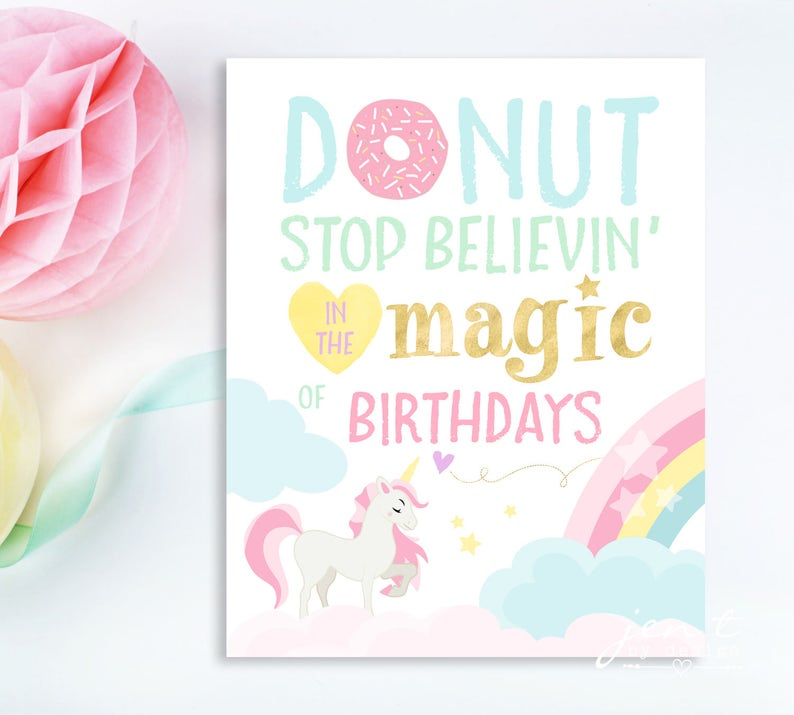 Unicorn Party Sign  Donut Stop Believin  Unicorn Party  image 0