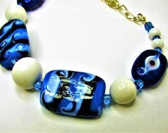 Blue and White Lampwork Swirl Beaded Bracelet - Item 50 B