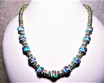 Blue and Multi-Colored Strip Beaded Necklace. - Item 375 N - On Sale 50% Off