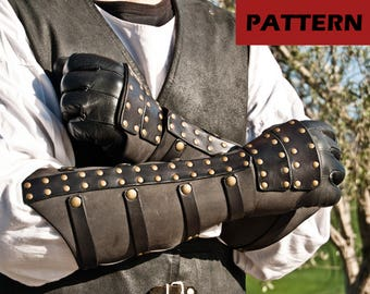 Rawhide Bracers with Handguards - PATTERN -