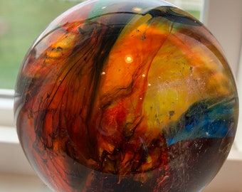 Cast Resin Sphere on wooden stand (XLI)