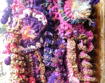 Handmade crochet baroque scarf stole turban fuchsia red violet golden twisted curls flowers crazy materials exuberant textured  freeform art