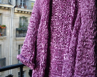 Handknitted elegant open long jacket,sweater,coat made with a brillant old pink ribbon,cyclamen color,versatile,comfortable material.