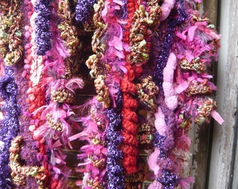 Crochet scarf handmade freeform pink red purple golden baroque stole turban crazy scarf  corkscrew curls fluffy lurex exuberant fiber art
