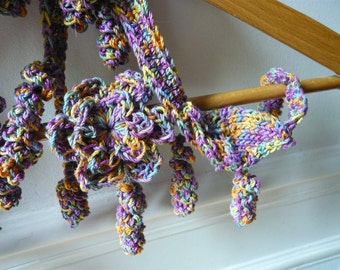 Lariat necklace  belt hand crocheted pure italian cotton rainbow colors curls   flower hippie psychedelic OOAK boho chic wearable art