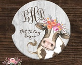 Monogrammed Car Coaster Not Today Heifer Car Accessories Personalized Sandstone Car Coaster Custom License Plate Floral License Plate ALP12
