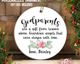godparents ornament gift for godparents godfather christmas gift godmother christmas ornament for godparents personalized godparents oph111