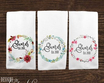 personalized kitchen towel custom wedding gift housewarming gift dish towel towel bridal shower gift anniversary gift for couple ktp1