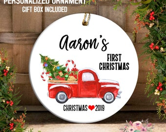 8392c3d9ba28 Baby Boy s First Christmas Ornament Baby Boy Red Truck Ornament Baby s 1st  Ornament Farmhouse Ornament Personalized Ornament for Boy OCH184