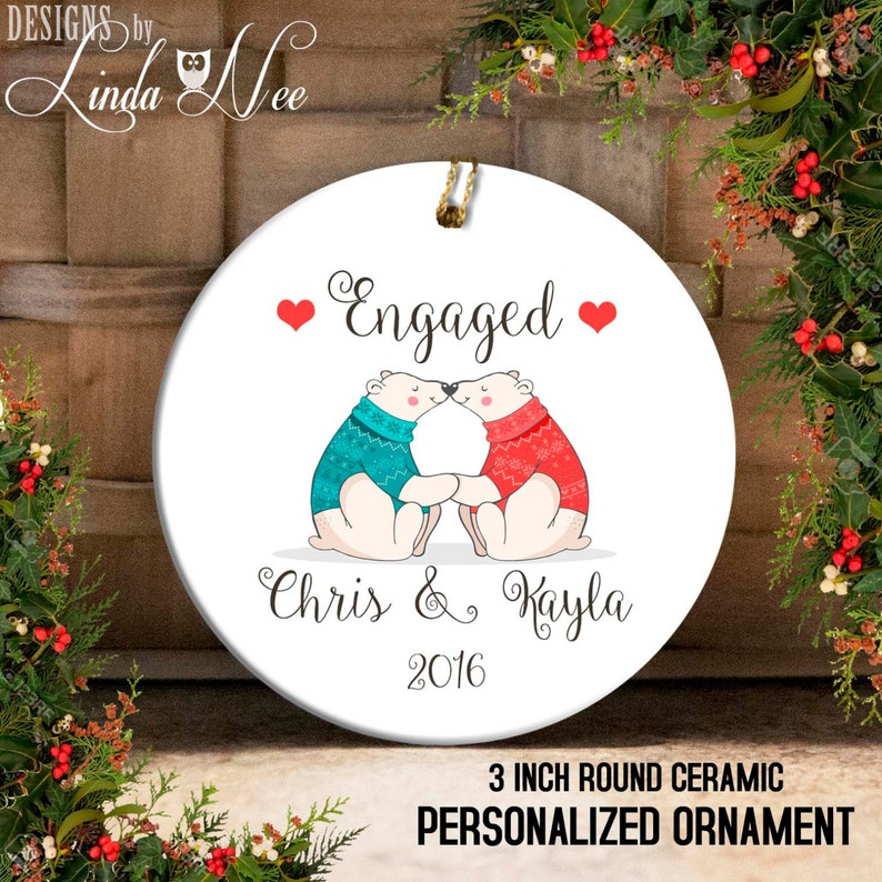 Engagement Christmas Ornament Just Engaged Ornament Mr And Mrs Ornament Custom Engagement Gift Bridal Shower Ornament First Christmas Oph51