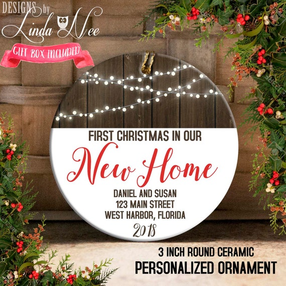 NAME PERSONALIZED Christmas Lights Family ORNAMENT 2021 House Our New First Home
