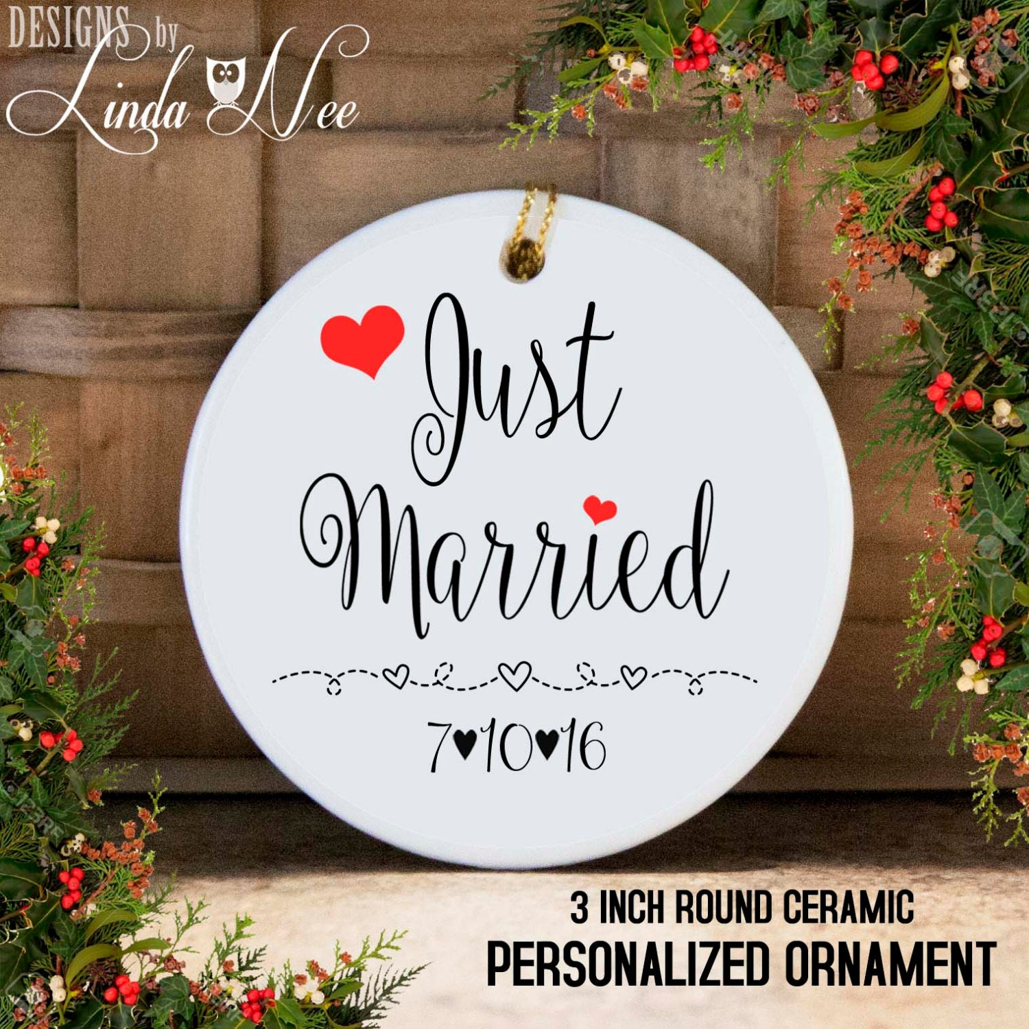Personalized Just Married Christmas Ornament Mr and Mrs   Etsy