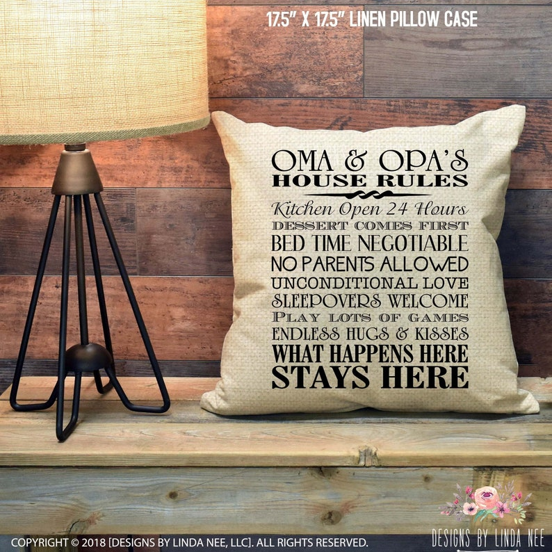 Peachy Oma And Opas House Rules Pillow Gift For Oma And Opa Gift For Grandparent Pillow Cover Accent Pillow Home Decor Housewarming Personalized Download Free Architecture Designs Rallybritishbridgeorg