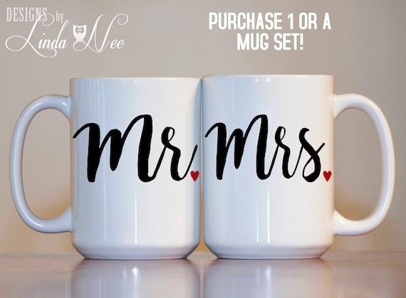 Mrs Mr Mrs Coffee or Tea Mugs or Cups Polar bear Christmas Couple Set of 2 Mr