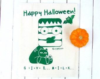 "Frankenstein with Black Cat - Flour Sack Towel - Screen Print - ""Cat Lover Frankenstein - GIVE .. MILK..."""
