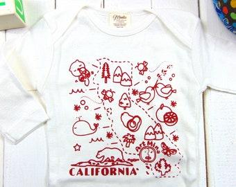 Long Sleeve - California Organic Baby Clothes - Screen Print Baby Onesie
