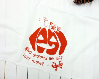 Flour Sack Towel- Jack O'Lantern - Funny Tea Towel - Screen Print - Halloween Pumpkin