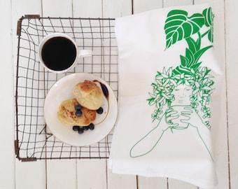 Flour Sack Towel - Kona Coffee - Screen Print - Tea Towel