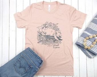 Unisex Soft Tshirt - California Pier - Screen Print - Seagull Tee - Color: Heather Peach (Dull Pink)
