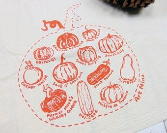 Flour Sack Towel- Pumpkin Sketch - Tea Towel - Screen Print - Natural Orange