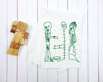 Monster Halloween  - Spooky Tea Towel - Kids Drawing - Screen Print - ZOMBIE - MUMMY - SKELETON