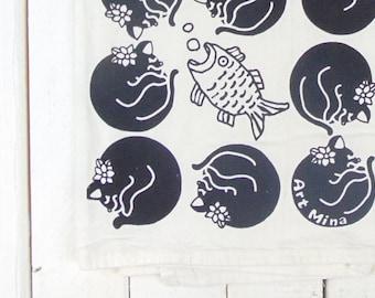 Black Cats, Tea Towel, Screen Print, Funny Kitchen Towel