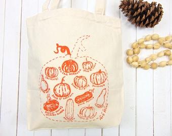 Pumpkin Canvas Tote - Screen Print -  Autumn Bag