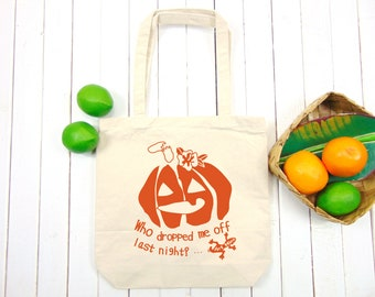 Halloween Pumpkin Canvas Tote - Jack O'Lantern - Autumn Bag - Funny Tote