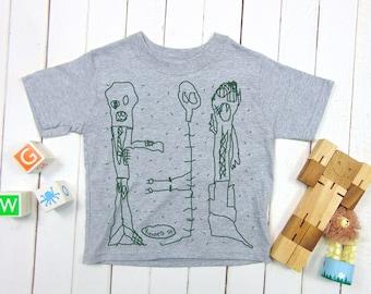 ZOMBIE,MUMMY, SKELETON Kids T-shirt, Kids Drawing Monster Halloween Tee, Screen Printed, Spooky toddler Tee