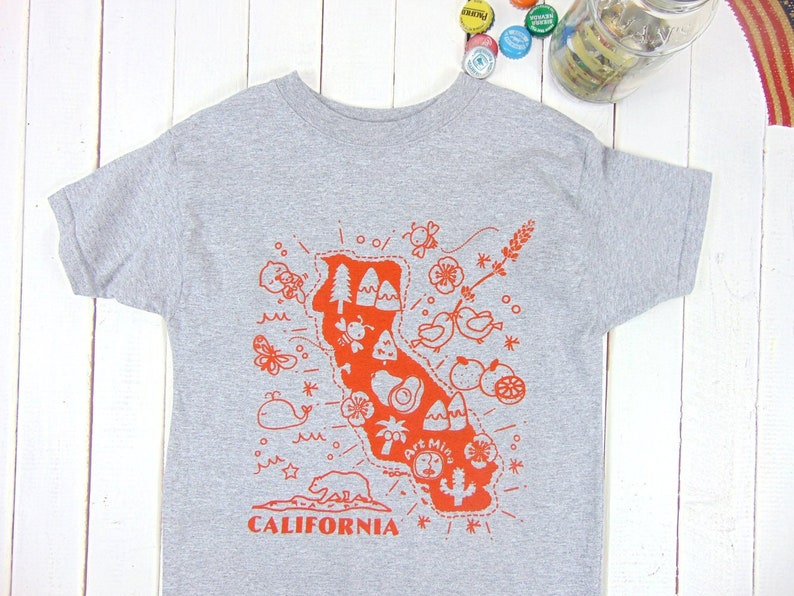 Map Of California Funny.California Map Kids T Shirt Screen Print Funny Youth Tee
