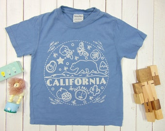 California Bear, Kids Youth T-shirt, Vintage Washed Tee, Discharge Screen Print, Garment Dyed Shirt, American Grown 100% Cotton