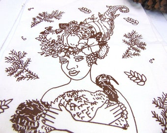 Thanksgiving turkey -  Flour Sack Towel - Screen Print - Vegan Vegetarian Thanksgiving - Cornucopia