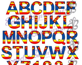 Alphabet And Numbers PNG Digital File Diy Print Clip Art Superhero Superman Character Letters A Z Printables Invitations Scr