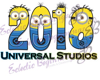 Digital File-Universal Studios, DIY Print Iron On-Universal Studios 2018 Vacation Minions Set of Two Designs