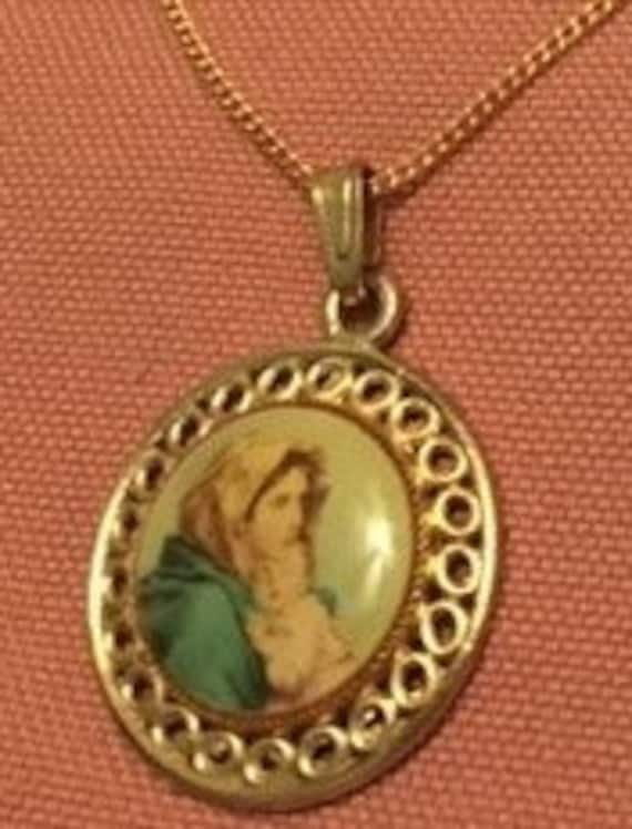 Necklace Full Color Medal of Mary and Baby Jesus … - image 1