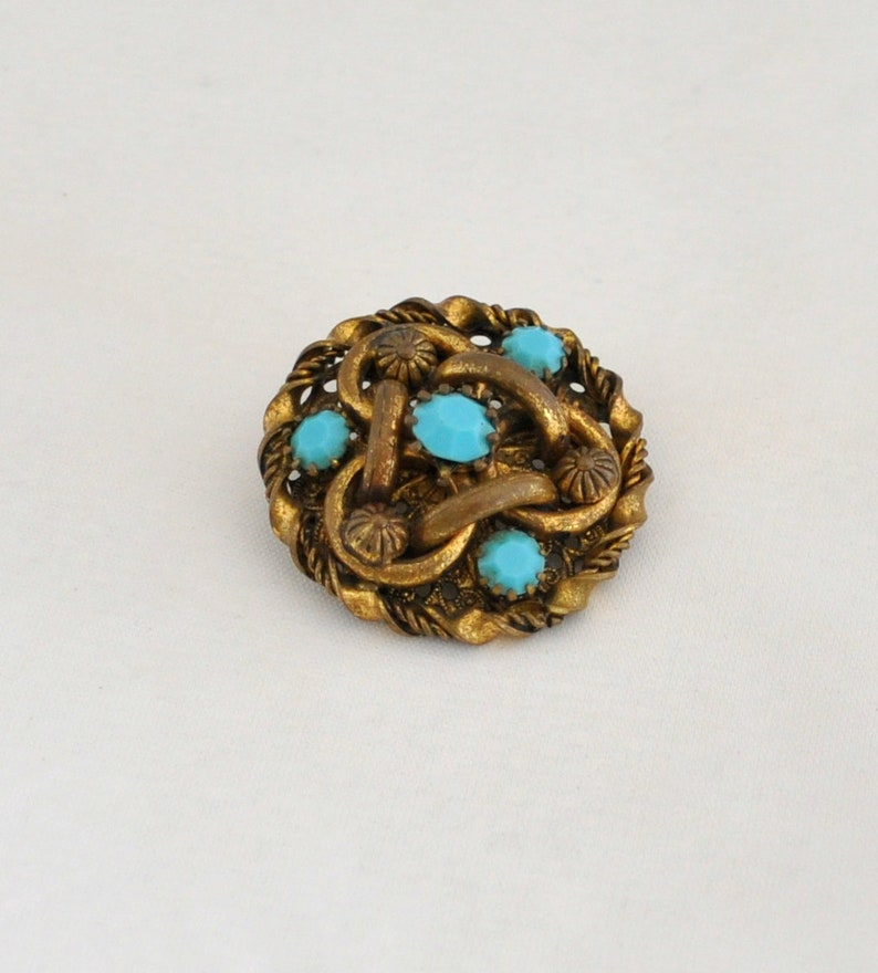 Vintage Victorian Revival Brass and Blue Turquoise Glass Intricate Brooch Regal