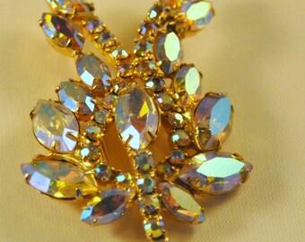 Vintage Aurora Borealis Peach Blue Crystals Floral Brooch - Elegant
