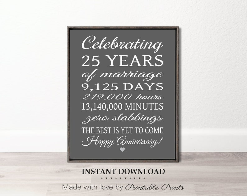 3ae5ad99 25th Anniversary Gift Instant Download PRINTABLE Art 25 Years | Etsy